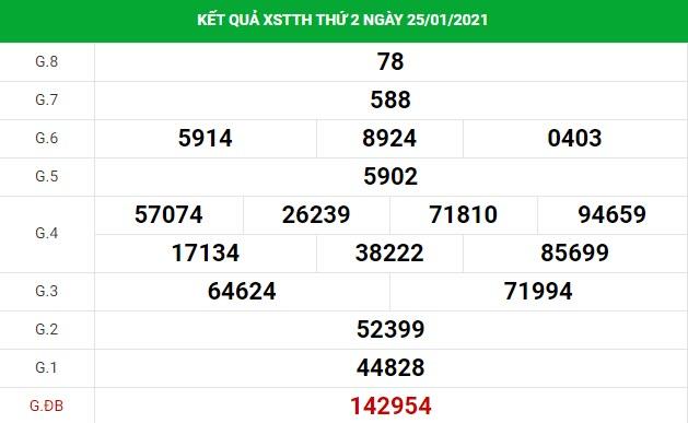 Soi cầu dự đoán XS Thừa Thiên Huế Vip ngày 01/02/2021